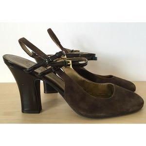 FRANCO SARTO Brown Suede Leather Slingback Heels